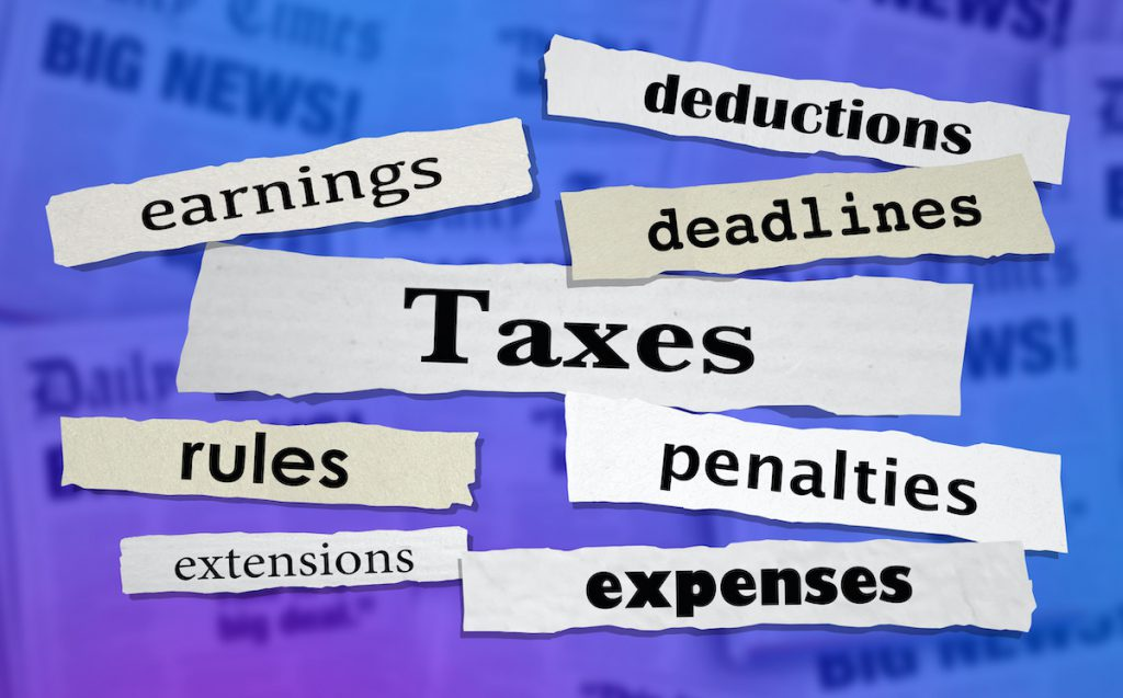 Taxes Headlines Earnings Income Tax Rate News Headlines 3d Illustration